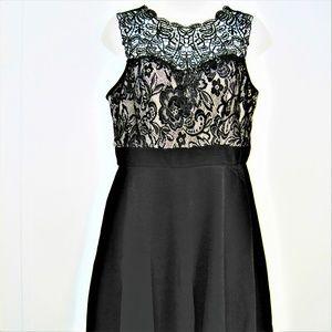 BLACK COCKTAIL DRESS LACE TOP sz L NWT